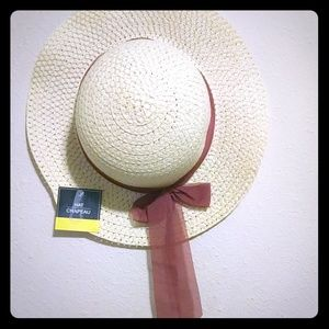 Hat with burgundy ribbon